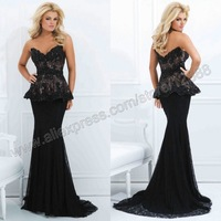 Tony Bowls TBE11454 Peplum Gown Mermaid Sweetheart Black Lace Formal Evening Gowns Dresses Free Shipping