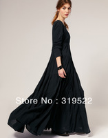 Fashion 2014 royal  exaggerated plus size  S-XXXL  vintage gothic o-neck ankle-length A-line black super long dress