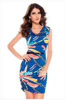 Bohemian women's elasticity V-neck summer dress Women fashion brief casual club dresses