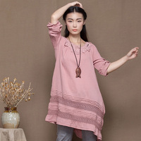 100% cotton one-piece dress long-sleeve hook woven pattern dress short skirt loose o-neck wrist-length sleeve vintage women's