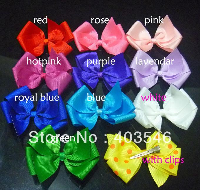 """5"""" Big Ribbon Solid Color Hair Bows Ribbon Bows with clips 50pcs 10 colors free shipping(China (Mainland))"""