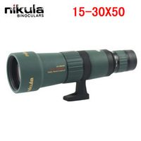 1Pcs Free shipping Nikula 15-30X50 Adjustable Zoom optical Monocular waterproof Telescope Optics lens Glass prism Camping