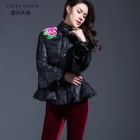 2013 high quality embroidered vintage national trend fashion slim thin down coat female short design plus size