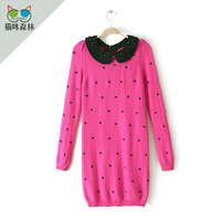 2013 women's diamond peter pan collar polka dot embroidery knitted one-piece dress 0.32kg coat women