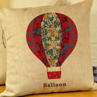 """Kim Store! Cute Flowers Train Boat Balloon Linen Home Sofa Decorative Cushion Throw Pillow, Car Cushion 17""""*17"""" (with filler)"""
