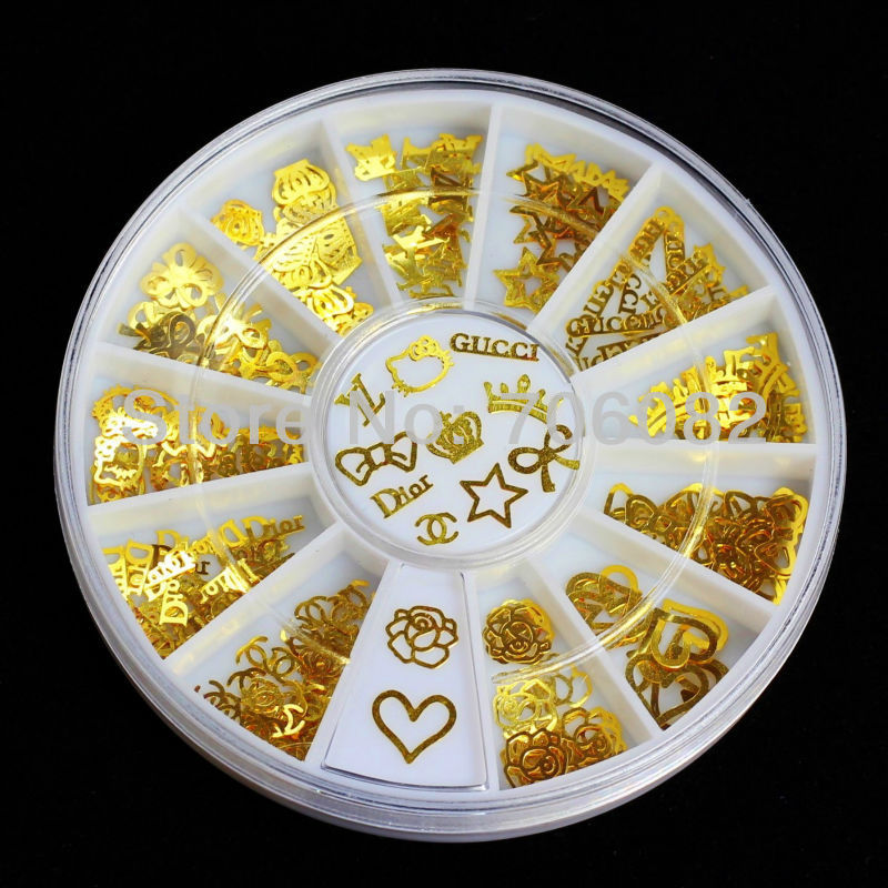 180pcs Gold Nail Art Metal Sticker Decoration Acrylic Tips Metal Slice Wheel Tiny Mixed Design +Wheel(China (Mainland))