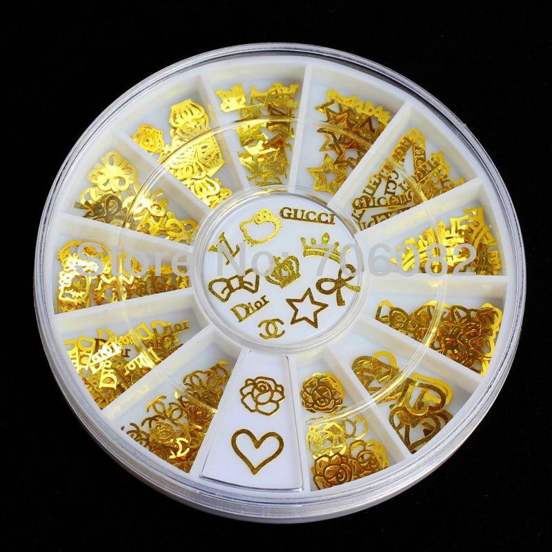 180pcs Gold Nail Art Metal Sticker Decoration Acrylic Tips Metal Slice Wheel Tiny Mixed Design +Wheel Nail Tools(China (Mainland))