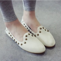 2014 shoes fashion casual white rivet flat single shoes female autumn metal flat heel single  women's shoes