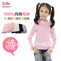 2014 New Arrived Girls 100% cotton knit sweater,no ball,no distortion,children high lace collar bottoming sweater 5/lot 120-160
