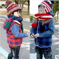 2013 fall and winter children's clothing boys and girls plus thick velvet cotton plaid cotton jacket Free Shipping