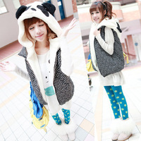 New 2013 CHIC Winter Women Casual Panda Hooded Short Dot Vest Coat Outerwear nx1239