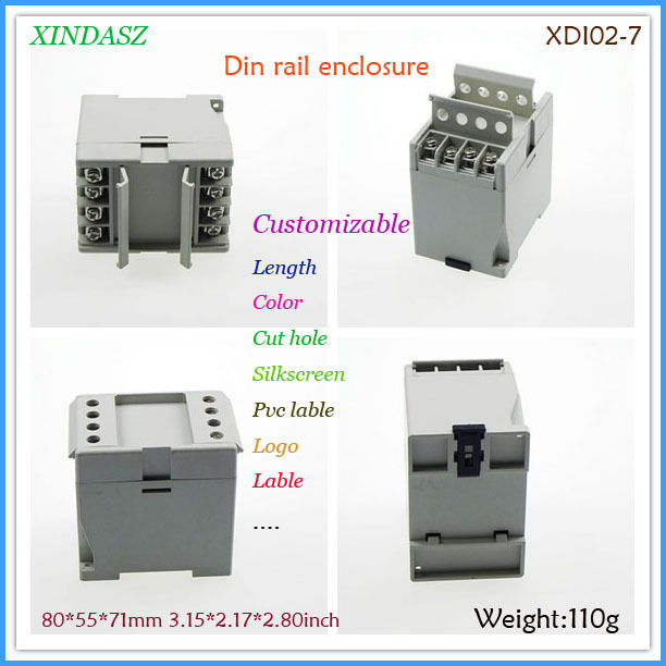 Plastic din rail enclosure manufacturers abs plastic electrical din rail box 80*55*71mm 3.15*2.17*2.80inch(China (Mainland))