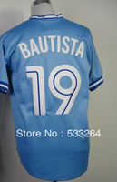 Hot Promotion!Cheap,#19 Jose Bautista Blue Men's  Baseball jerseys Sale,Embroidery sewing labels,Free shipping