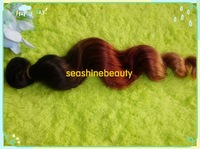 Christmas present: ombre hair weft 1b#33#27# ,12''-30'' mix length ,3pcs/lot loose wave ,100% Indian hair ,DHL free shipping