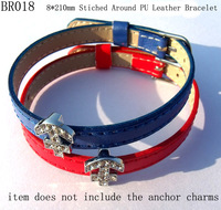 8mm*210mm Vintage Girls Stiched Around PU Leather Bracelet,DIY Wedding Jewellry Accessories,Free Shipping Wholesale 200pcs/lot