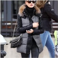 New Women Fashion European Style High Quality Swallow Gird plaid  PU leather fur collar Down Christmas Coat  Free shipping C8084