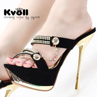 Ultra thin heels gold high-heeled slippers slippers metal chain kvoll sandals Free shipping