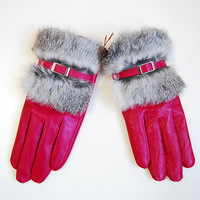 Women's genuine leather gloves winter sheepskin rex rabbit hair gloves autumn and winter thin thermal leather gloves