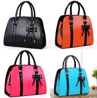 1pC Free Shipping 5 Candy Colors Bowknot Leisure Handbags PU Leather Zipper Women Totes Handbag Lady Single Bags 640340
