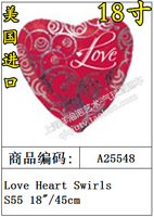 Free Shipping 25548 balloon aluminum foil ball love heart swirls balloon