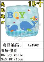 Free Shipping 24562 balloon aluminum foil ball - boy oh boy whale balloon