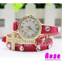 Free Shipping 2pcs/lot 18K Gold Plated Multi Leather Watches Crystal Cross Bracelet Jewelry Quartz Wristwatch GW012