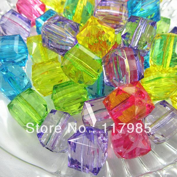 Free shipping Chunky Beads 20mm,150pcs/lot,,Acrylic Clear Cube beads,Mixed Random color ,(China (Mainland))