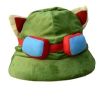 New arrival! Free shipping super cute  game Teemo hat, plush cosplay toy, green color 1pc, gifts for birthday and Christmas