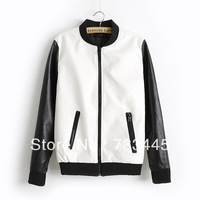 Free shipping new fashion lady PU leather clothing wholesale baseball hit color stitching PU leather jacket for women 819793