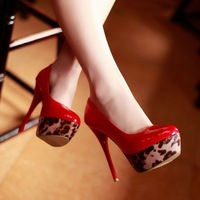 Free Shipping,Sexy Leopard High Heel #H-1 Patent High Heel Pumps Womens/Ladies Wedding Shoes,US 4-10.5
