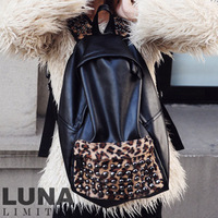 Free Shipping2013 new women's handbags  casual rock PU vintage patchwork wool leopard print rivet bag backpack  bags