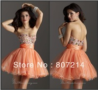 2014 Charming Ladies Sweetheart Beaded Sequin cocktail Dress Short Prom party Spaghetti Strap Chiffon Dress Gown