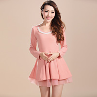 New Arrival Pink color M-XL Size Cute Preppy style dress Pearl Neck Long sleeve Autumn Summer Dresses Free shipping