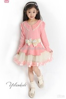 Girls dress dot lady waist gauze lace collar + long sleeve mesh veil a flower 1235476423