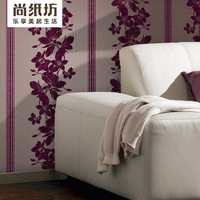Modern flock printing flower personality sofa tv background wallpaper 25531