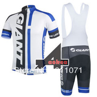 2014 Giant Team White&Blue Maillot Cycling Jersey Short Sleeve And Bib Shorts Mountain Bike wear shirt Ciclismo Clothing Set