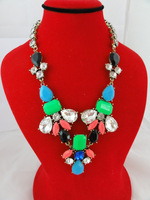 Exclusive ! 2013 New Trendy Fashion colorful crystal Acrylic Waterdrop Statement Necklace Big Charm Jewelry Retail free shipping