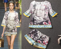 Sicily Fashion 2014 Runway Vintage New Arrival Europe Floral Print 100% Silk Half Sleeve Women Blouses + Shorts Free Shipping