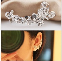 Korean elegant earring Refinement Top grade flash drilling Butterfly Flower earrings ear clip LM-C244