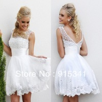 New Arrival Flare See Through Pearls White Organza Appliques Low Back 2014 Prom Dresses Short