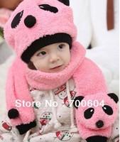 1set Retail high quality cotton Panda  hat+scarf set Animal design winter baby children's panda hats