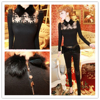 Free Shipping new ladies' fur collar embroidery flower cutout chest lace long-sleeve knitted shirt(Red;Black;Gray)131204#30
