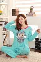 2013 autumn winter women long sleeve owl print cotton pajamas / casual sleepwear / fashion homewear