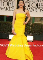 Sexy Fashion Style Hot Sale Gorgeous Taffeta Strapless Yellow Paula Patton Mermaid Dress Golden Globe Red Carpet Celebrity Dress
