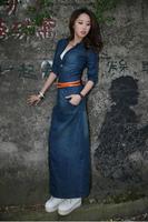 dress women new 2014 autumn half sleeve dress ankle-length casual thin plus size denem dresses  free shipping237
