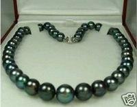 "wholesale Fancy Bridal Jewellery 18K GP 10-11mm Tahitian Black Natural Pearl Necklace 18"""