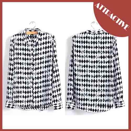 Hot sale!European American Style Turn-down Collar Long-sleeved Shirts Women's Fashion Blouse Puff Sleeve Free Shipping! MC-118(China (Mainland))