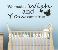 Free shipping WE MADE A WISH Butterfly Wall Art Sticker Decal DIY Home Decoration Wall Mural Removable Room Sticker 65x30cm