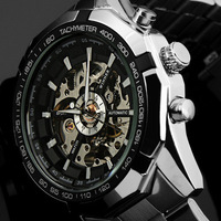 WIN203 Men full steel watch mechanical watch Stainless Steel Skeleton mens self-wind watch