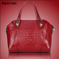 Mirror PU crocodile pattern handbag shoulder bag women's handbag Bride bags package party bag totes